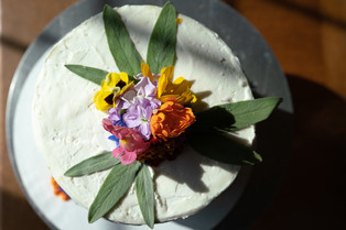 Classic Vanilla Bean White Cake with Edible Flowers and Sage