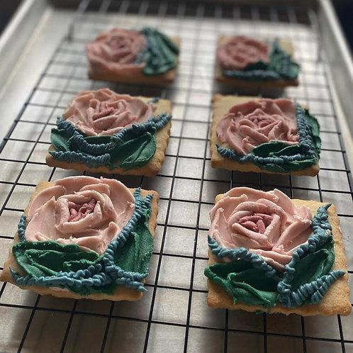Floral Painted Shortbread Cookies, 1 dozen