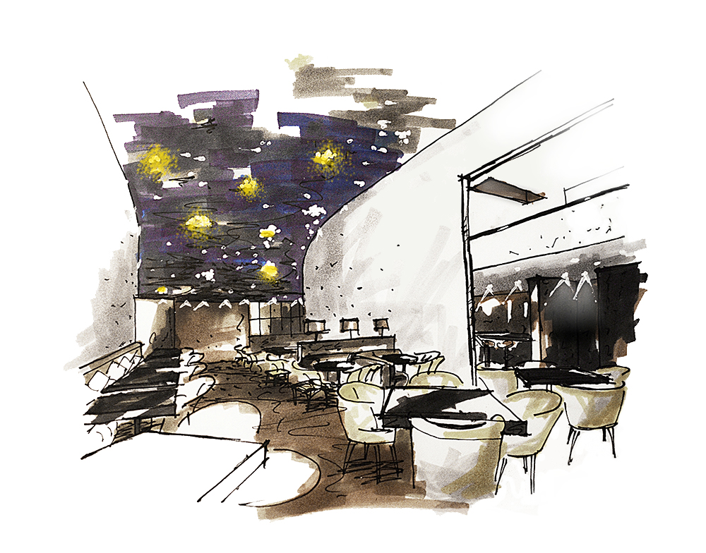 restaurant design, hand sketch