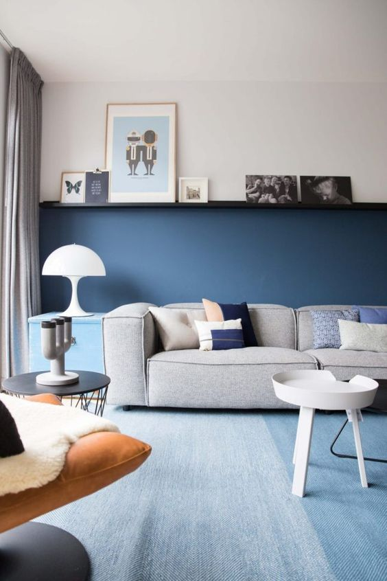 interior design solutions_half painted wall blue enlivens the beautiful  living room