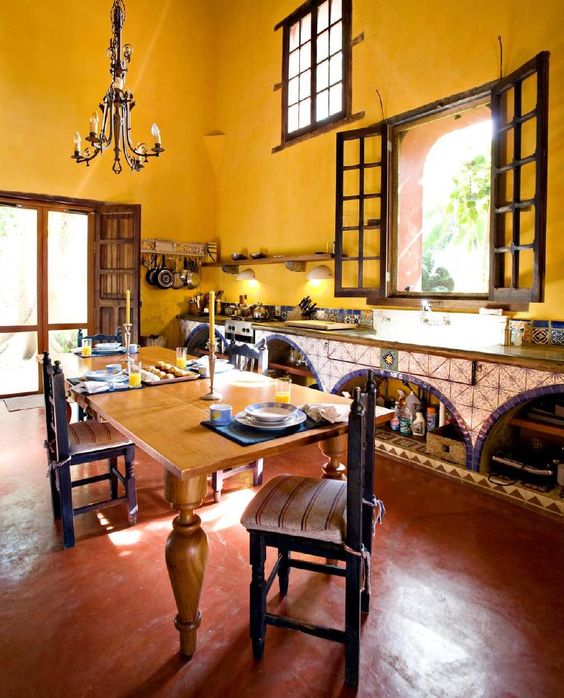 interior design solutions_traditional kitchen wall painted in yellow