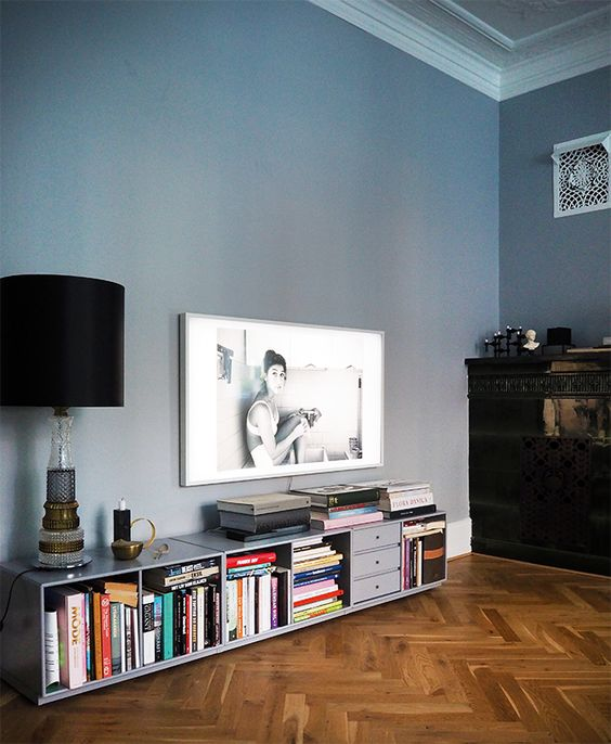 living room interior design with photography