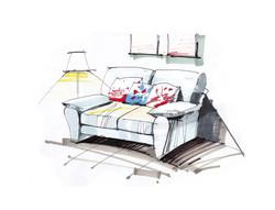 interior design, hand sketch