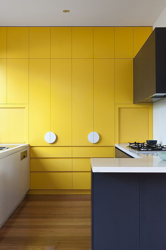 interior color trends_kitchen cabinet all painted in bright yellow color
