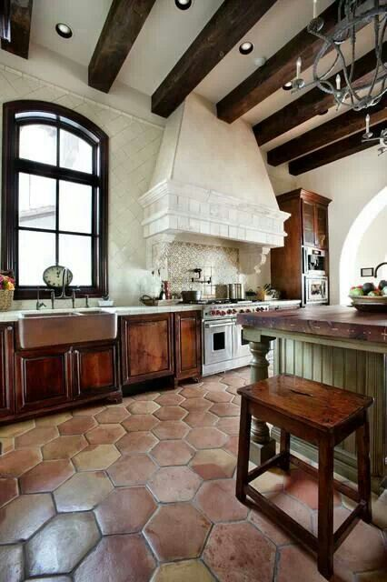 Interior design styles, floor tiles, sculptured kitchen hood, handmade backsplash tiles