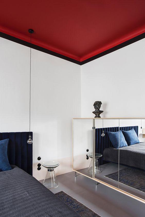 interior color trends_red ceiling ideas are unique