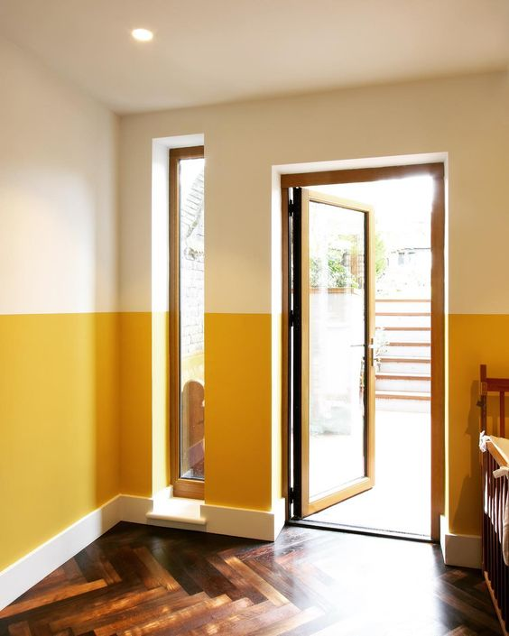 interior design ideas_half painted entry wall in yellow color