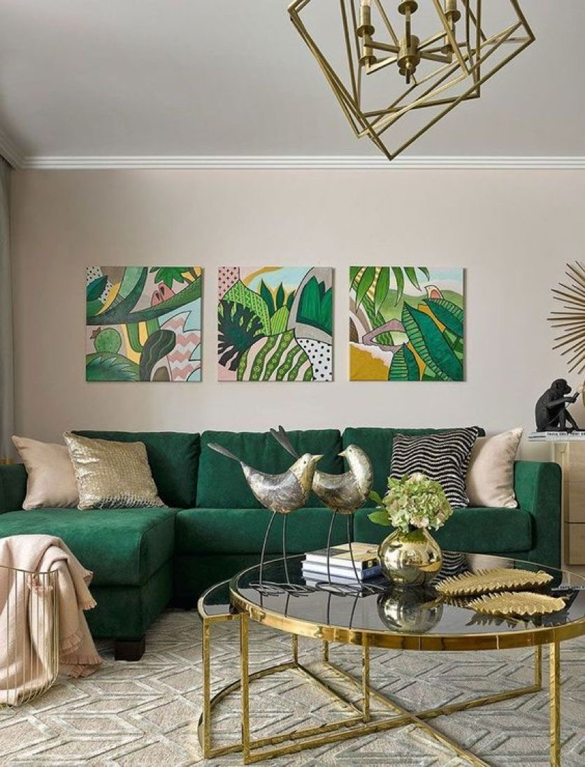 Interior decor analysis with a couch and wall frames