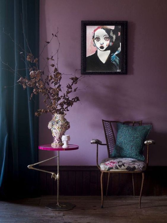 interior design trends_living room with a wall painted in purple