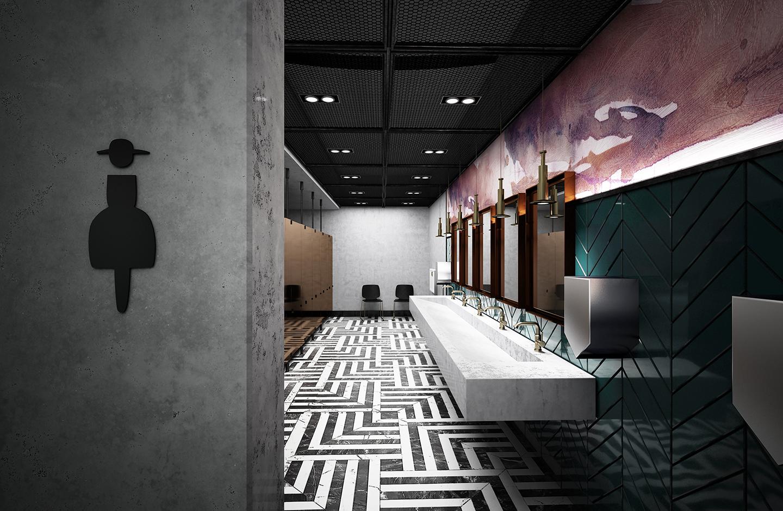 Public washroom interior design