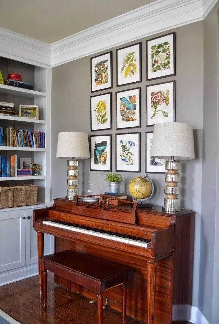 Interior decor analysis with pianos and wall frames