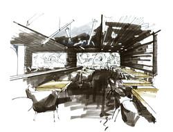restaurant design, hand sketch