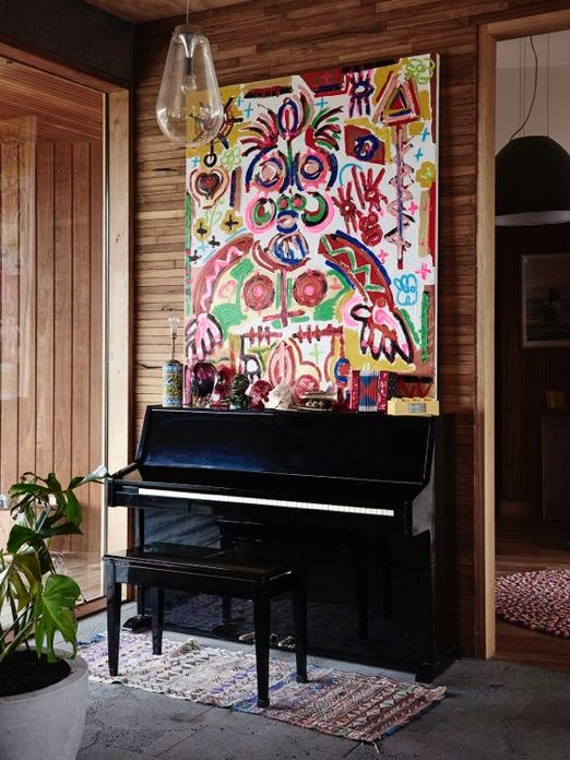 Interior decoration with pianos and wall frames