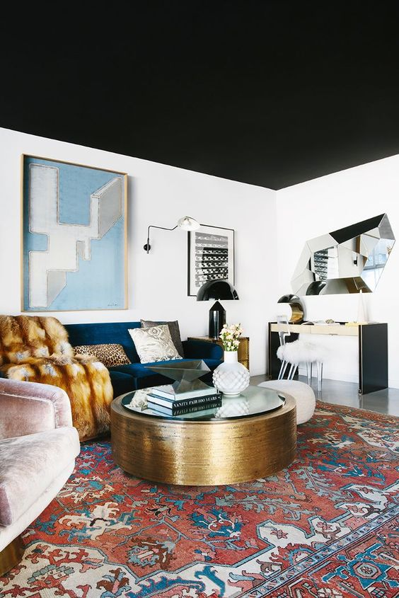interior color trends_a black colored ceiling gives versatility  to other decors in a room