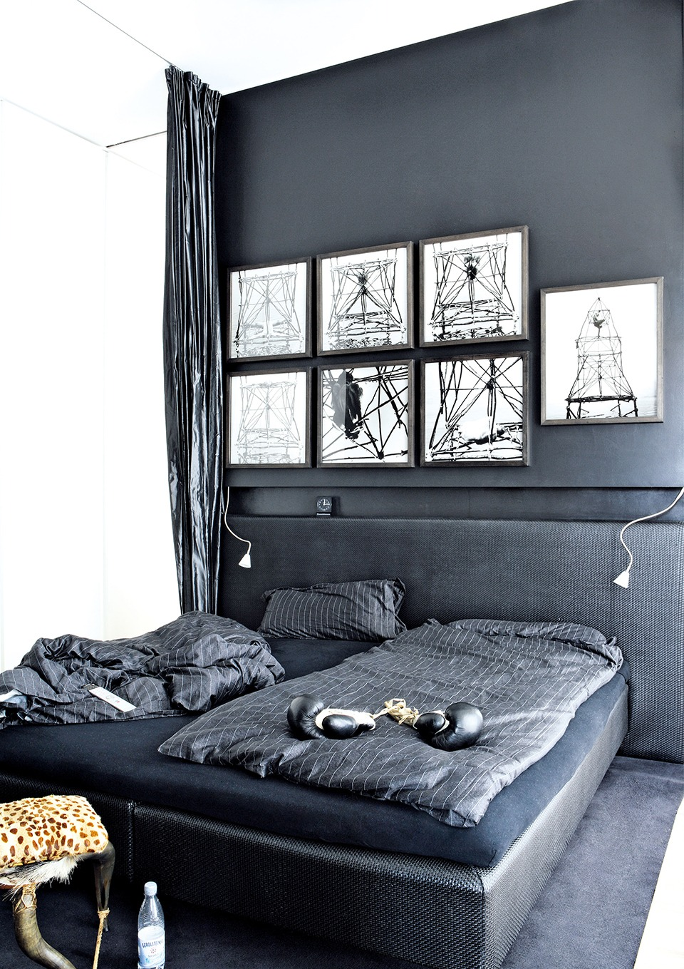 Bedroom decoration-white wall art on grey tones