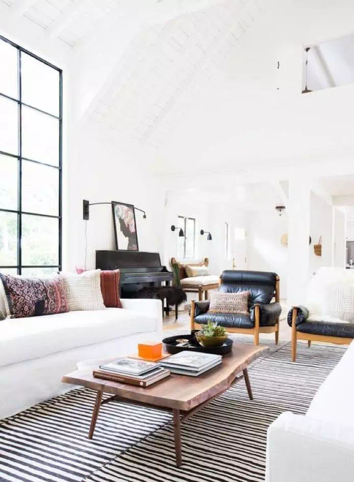 living room interior design with a white couch