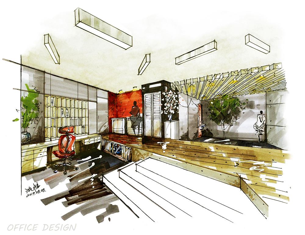 stunning office design sketch