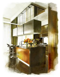kitchen design, rendering