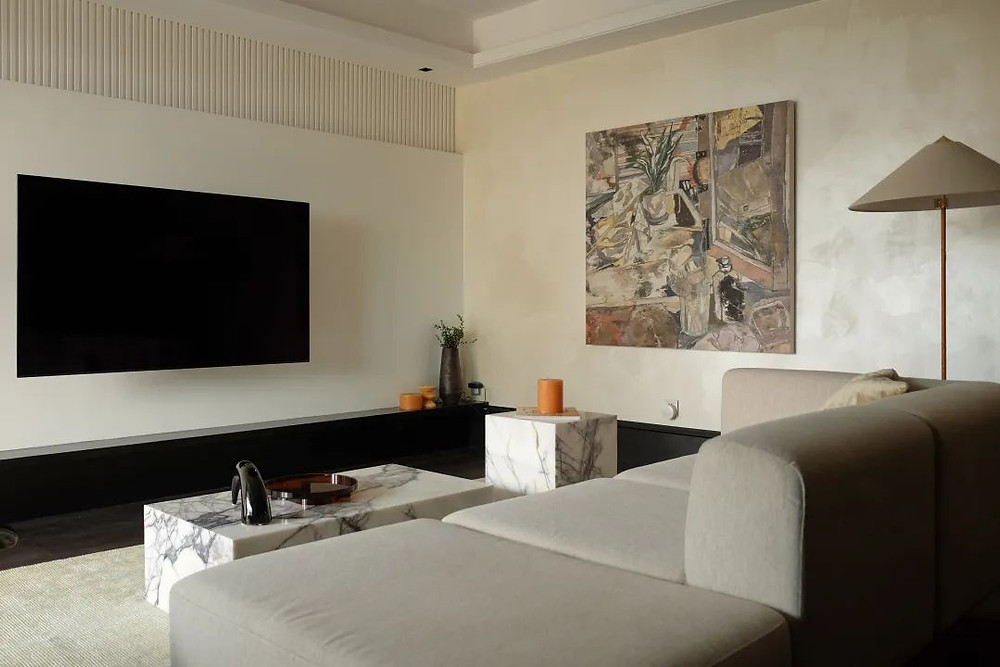 Living room with textured walls interior design