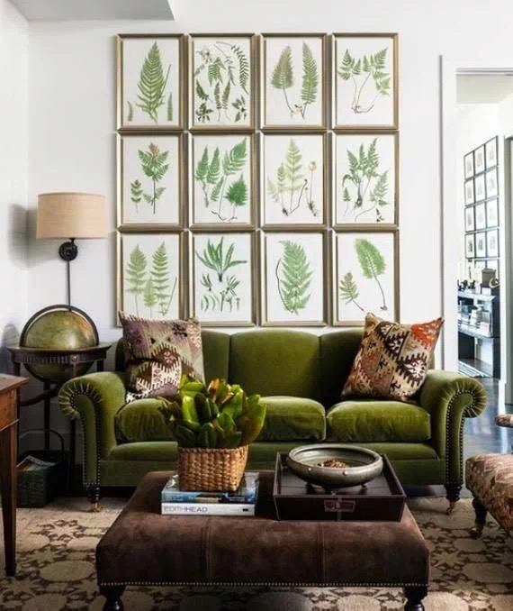 Interior design analysis with a couch and wall art
