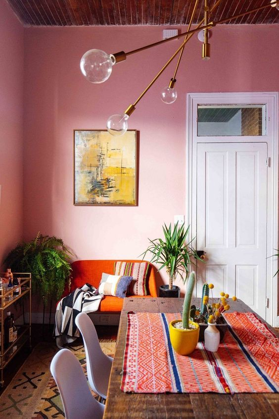 interior colors_dining room walls are painted in joyful pink color