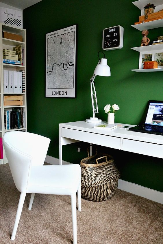 interior decorating trends_this home office has a deep green wall