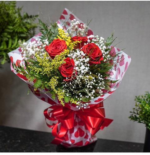 Buquê com 4 Rosas Naturais