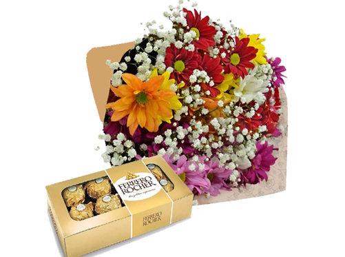 Cone com Flores do Campo + Ferrero Rocher