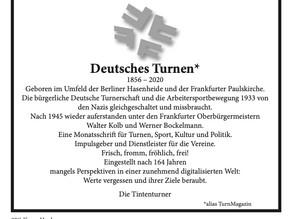 """Monatszeitschrift """"Deutsches Turnen"""" eingestellt"""