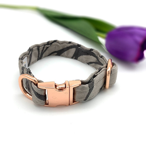 Silver Satin Dog Collar With Rose Gold Buckle