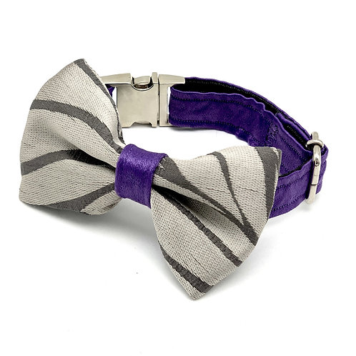 Silver Purple Waves Dog Collar & Bow Tie