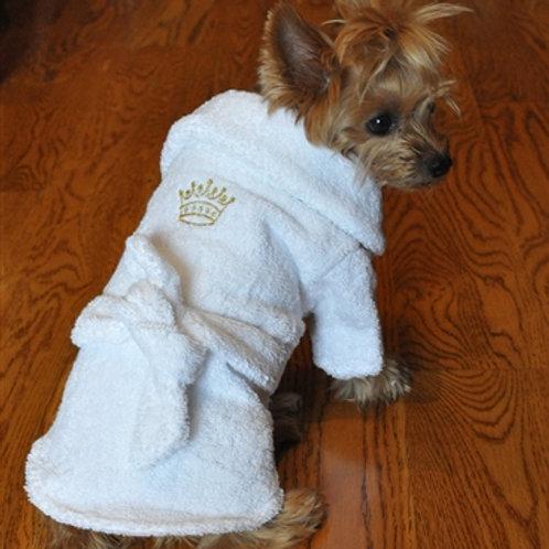 White Gold Crown Bathrobe 100% Combed Cotton Terrycloth