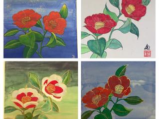 「ワークショップ日本画・椿」の作品紹介 Workshop Camellia