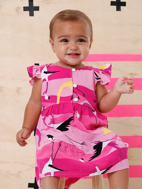 Vestidinho Flamingo bebê