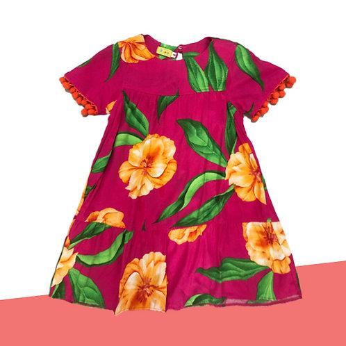 Vestido Hibisco Pompom