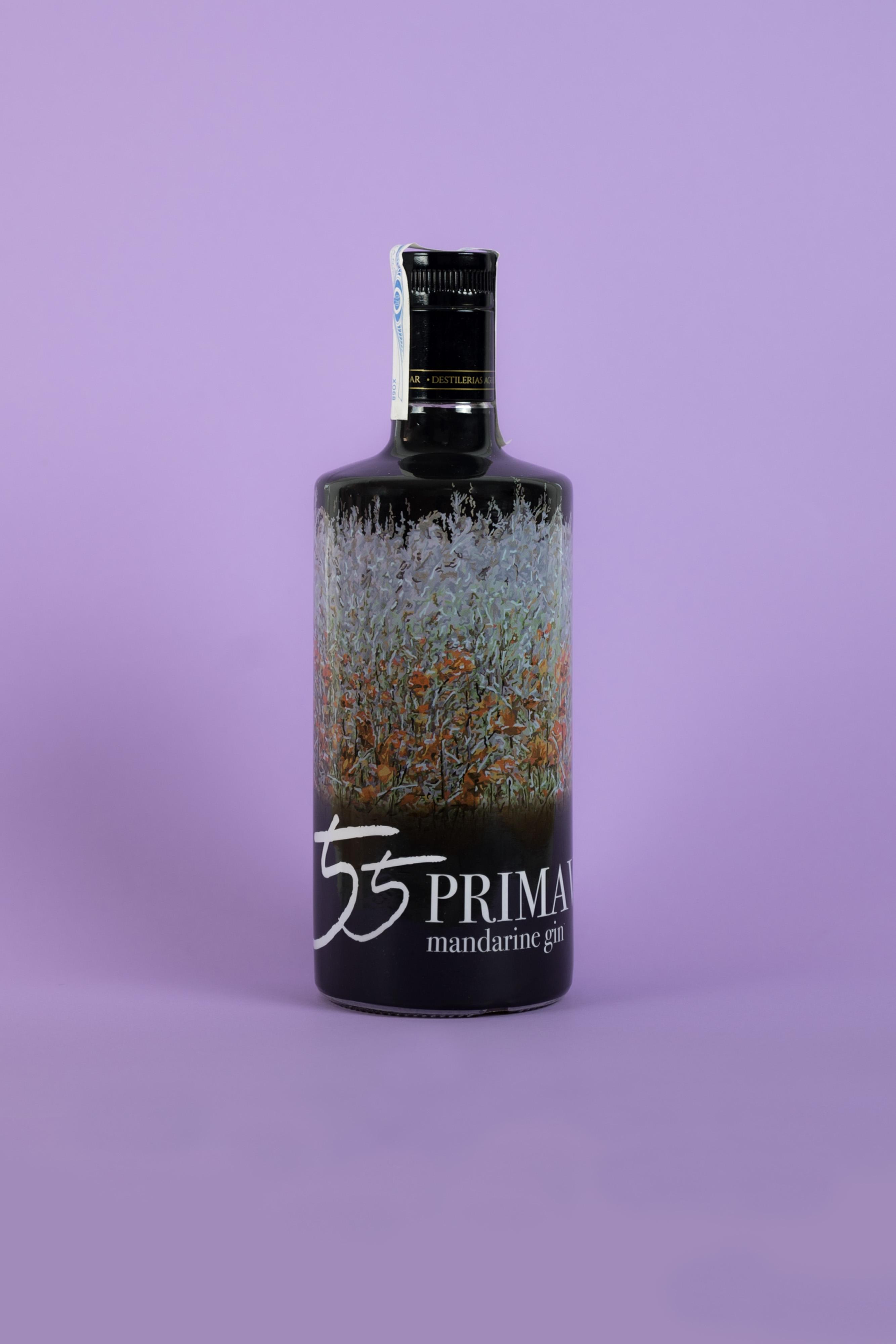 Botella Ginebra 55 Primaveras de Mandarina