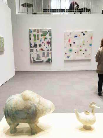 University Art Museum, Artists of the Mohwak Hudson Region. My paintings behind Shari Mendelson's work.