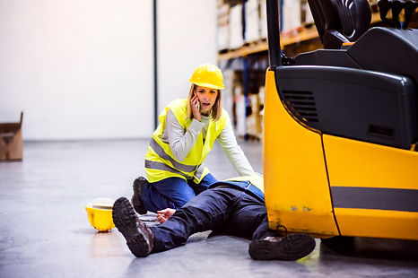 Warehouse workers after an accident in a