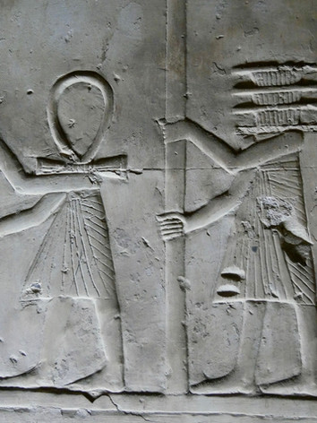 Anthropomorphized Ankh and Djed pillars inside the Seti I temple