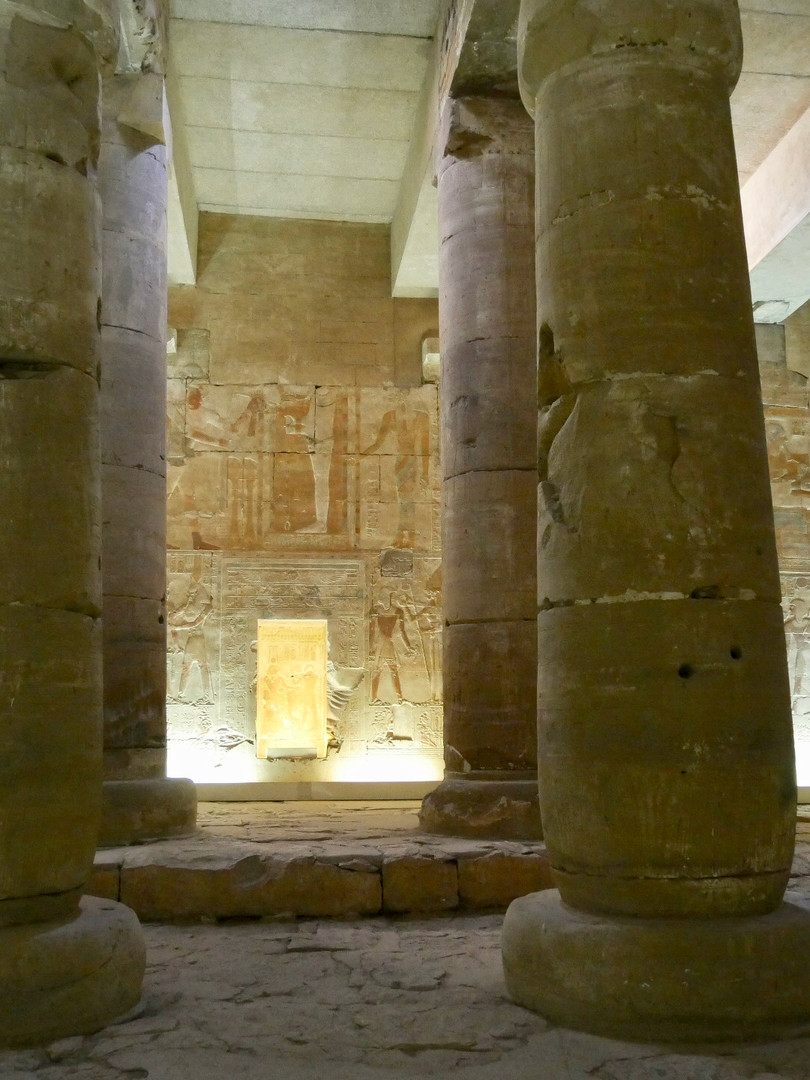 Inside a hypostyle hall of the Seti I temple
