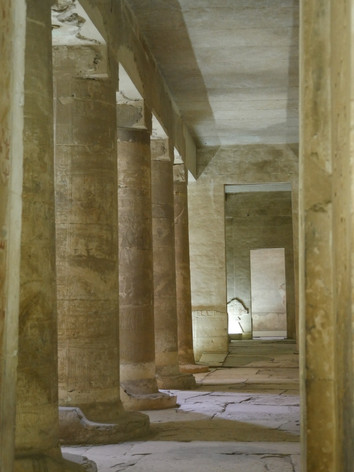 One of the hypostyle halls inside of the Seti I temple