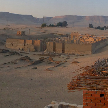 The view of the Rameses II temple from the roof top deck of the guesthouse.