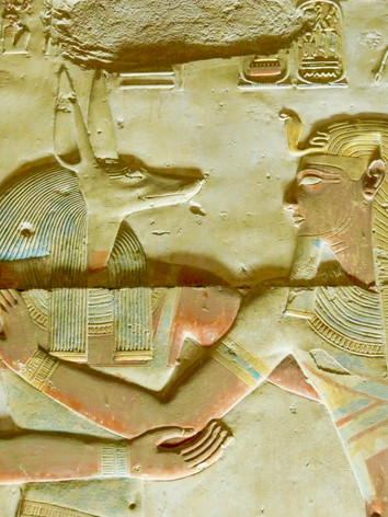 The king Seti I with Anubis, the god of mumification