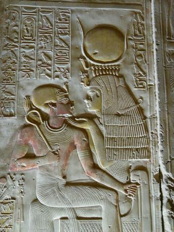 Isis and Seti I inside of the Seti I temple