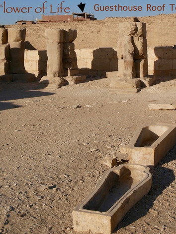 Inside of the Rameses II temple looking back at the guesthouse