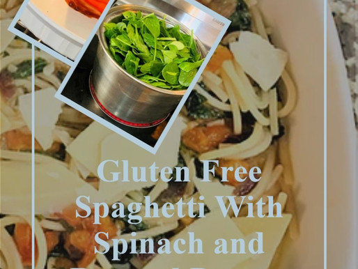 Gluten Free Spaghetti With Spinach and Roasted Pepper