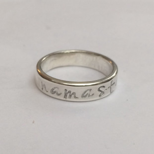 Silver word ring