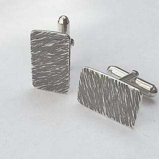 Hammered silver cufflinks