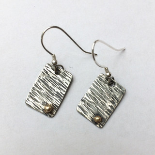 Hammered silver/gold earrings