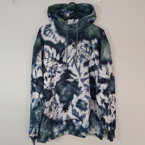 Tie Dyed Adults Unisex Hoodie -Ice Dyed Steel Marble